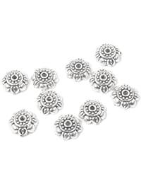 Cinco temporada 50piezas plateado espaciador de flores DIY abalorios de Metal para pulseras, collar # 31