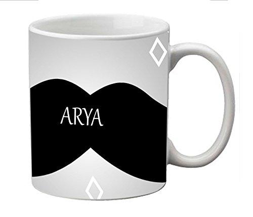 meSleep Moustache Personalized Ceramic Mug for Arya  available at amazon for Rs.249