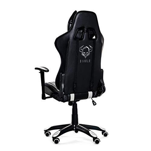 Diablo X-One Horn Silla Gaming De Oficina Mecanismo De Inclinación Reposabrazos Ajustables Cojin Lumbar Y Almohada Cuero Sintético (Negro/Blanco)