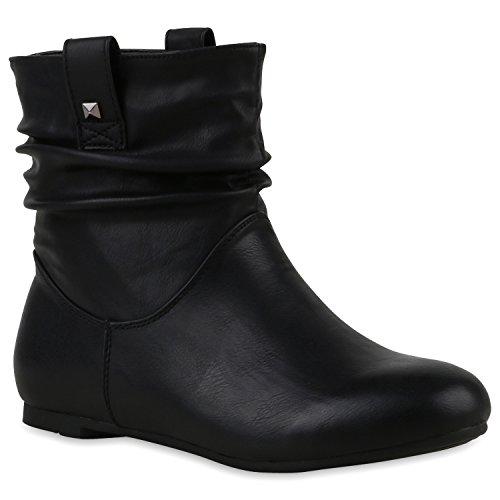 Stiefeletten Damen Schlupfstiefel Schnallen Stiefel Flach Boots Nieten Leder-Optik Schlupfstiefeletten Schuhe 120939 Schwarz 36 Flandell