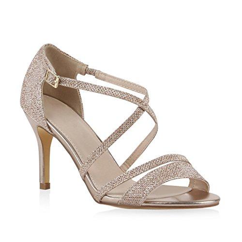 Damen Riemchensandaletten Glitzer Sandaletten Stilettos High Heels Abiball Hochzeit Braut Schuhe 110991 Gold Riemchen Bernice 39 Flandell