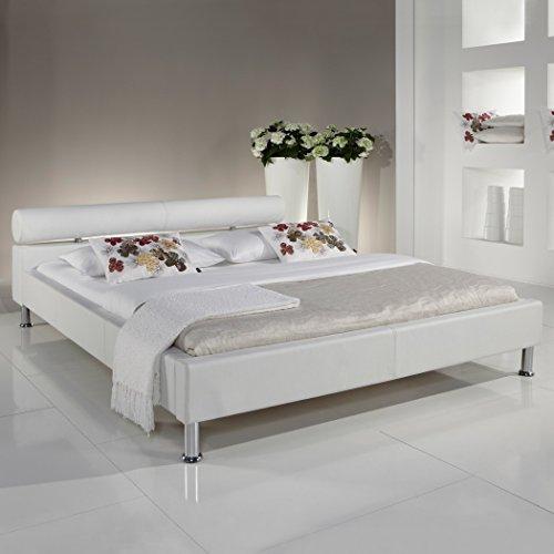 Polsterbett 140x200 weiss Kunst-Lederbett Bett Doppelbett Andre