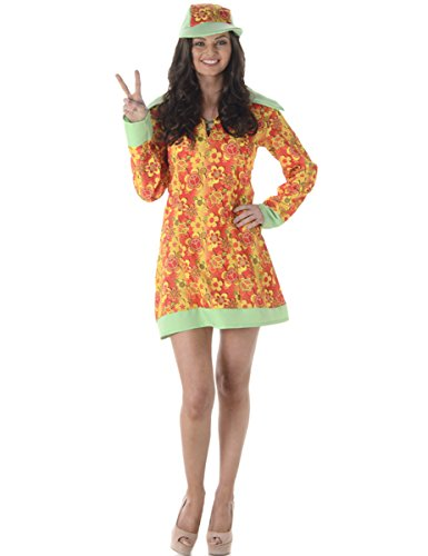 Groovy Girl Ladies Fancy Dress Hippie 60s 70s Hippy Womens Adults 1960s Costume (60s 70s Fancy Dress Kostüme)