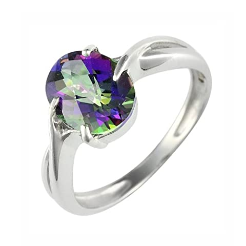Ivy Gems 9ct White Gold 2ct Mystic Green Topaz Oval