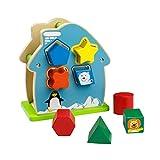 ACOOLTOY Hölzern Tiere Sortierung Geometrie Spielzeug Gebäude Haus Gebäude Blöcke Box Lernspielzeug für Kinder
