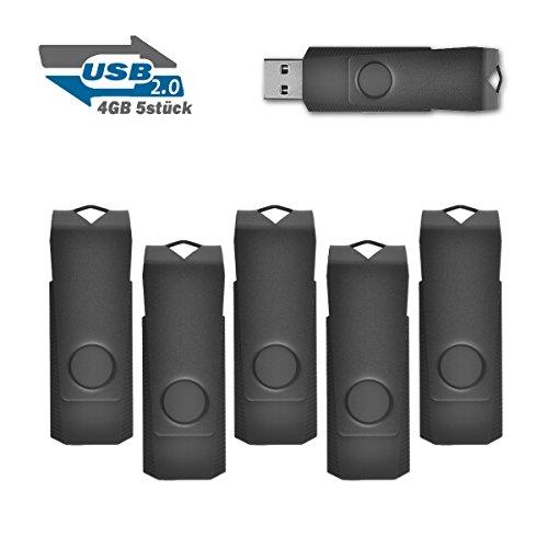 4GB Speicherstick 2.0 USB Stick Data Datenspeicher, 5 stück Schwarz