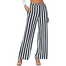 QinMM Pantalones Anchos a Rayas para Mujer afce5e7c3703