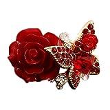 Demarkt Blumen Ringe Schmuck Ring Modeschmuck für Damen Rose und Schmetterling Form Rot