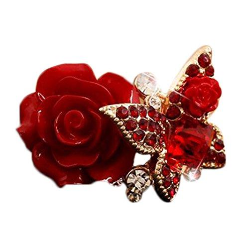 Kreative Mode (DaoRier Kreative Mode Schmetterling Rosen Ring Schmuck Zubehör Legierung Ringe für Damen Ringe für Damen silber mit Strasssteine Geschenk ,1 Stück (Rot))