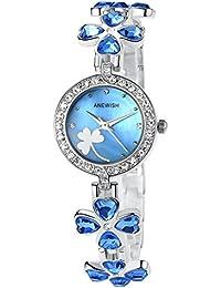 Ostan Joyería Mujeres Moda Chapado en Oro Cuarzo Pulsera Relojes con Crystals y Circonio Cúbico - Azul