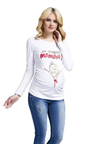 Witzige süße Umstandsmode T-Shirt mit Motiv Schwangerschaft - Je t'aime maman, Langarm (XL, Weiß) (Super Shaper Footless)