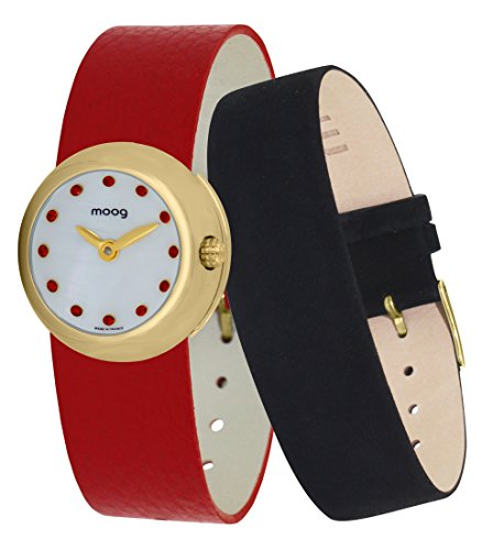 Moog Paris Zoom Women's Watch with White Dial, Red Genuine Leather Strap & Swarovski Elements - M45382-405