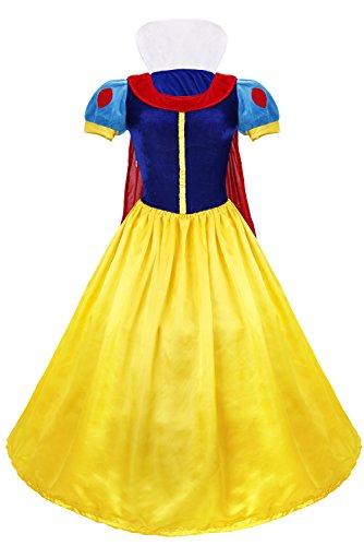 Kostüm Frauen Schneewittchen - dPois Damen Prinzessin Kostüm Prinzessin Kleid mit Haarreif Prinzessin Kostüm Frauen Märchen Kostüm Cosplay Faschingskostüm Karnevalskostüm Halloween mit Petticoat XL