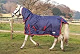 """Rhinegold Full Neck Torrent Horse Turnout Rug Navy/Red Spot 6f 0"""""""