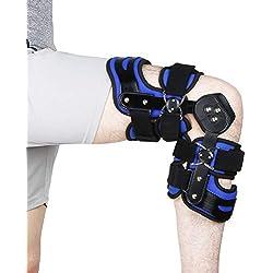 REAQER Knieorthese Verstellbare ROM Knieschiene mit Scharnier Wiederherstellung nach Verletzungen aufgrund von ACL-, PCL-, MCL oder LCL-Operationen