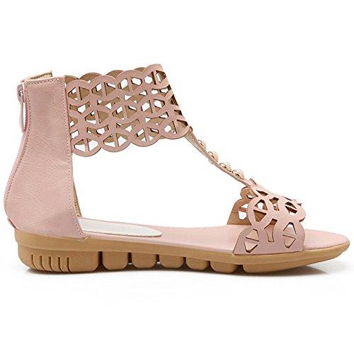 COOLCEPT Damen Mode T-Spangen Sandalen Open Toe Flach Schuhe Mit Zipper Rosa