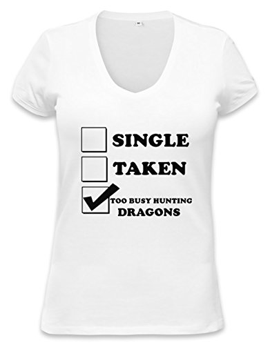 Single Taken Too Busy Hunting Dragons Womens V-neck T-shirt XX-Large