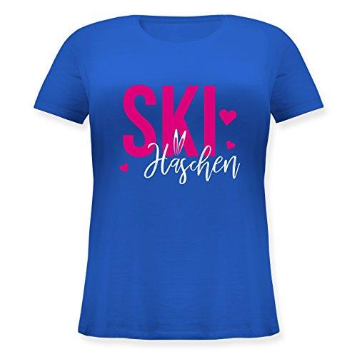 Shirtracer Wintersport - Skihäschen - Lockeres Damen-Shirt in Großen Größen mit Rundhalsausschnitt Blau