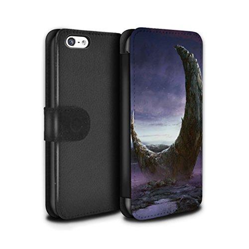 Offiziell Chris Cold PU-Leder Hülle/Case/Tasche/Cover für Apple iPhone 5C / Arcularius Nebel Muster / Fremden Welt Kosmos Kollektion Zerbrochenen Mond