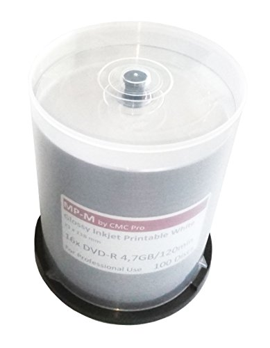 100 Glossy Bedruckbare DVD Rohlinge CMC-Pro DVD-R 4,7GB 16x Wide Inkjet printable weiß, glänzende vollflächig bedruckbare Oberfläche für Tintenstrahldrucker