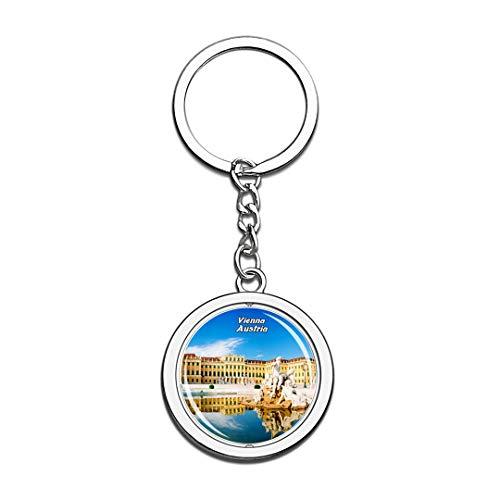 Österreich Schlüsselbund Schonbrunn Palast Wien Schlüsselbund 3D Kristall Drehen Rostfreier Stahl Schlüsselbund Touristische Stadt Andenken Schlüsselanhänger