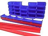 Stapelboxen Sichtlagerboxen Gr. 1 blau 30 Stück inkl. 6 Wandschienen