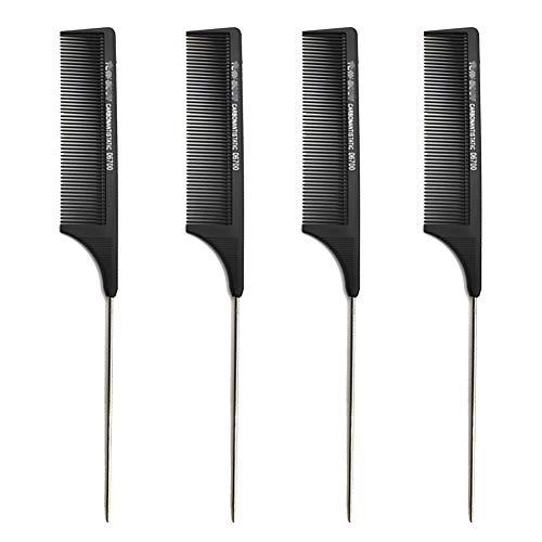 Confezione da 4 pettini professionali in carbonio nero con rebbi in metallo, per parrucchieri, saloni di bellezza, con 5 perni in acciaio inox