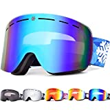 Snowledge Skibrille Snowboard Brille Rahmenlos OTG UV400 Schutz mit Anti-Beschlag, Skibrille Damen & Herren, Winddicht Ski-Schutzbrillen für Motorrad Fahrrad Skifahren Skaten, Helmkompatible