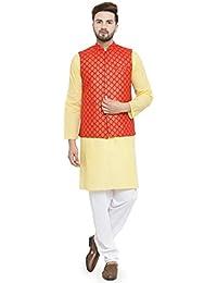 Sartorial Ethnic Men's Traditional Silk Printed Nehru Jacket