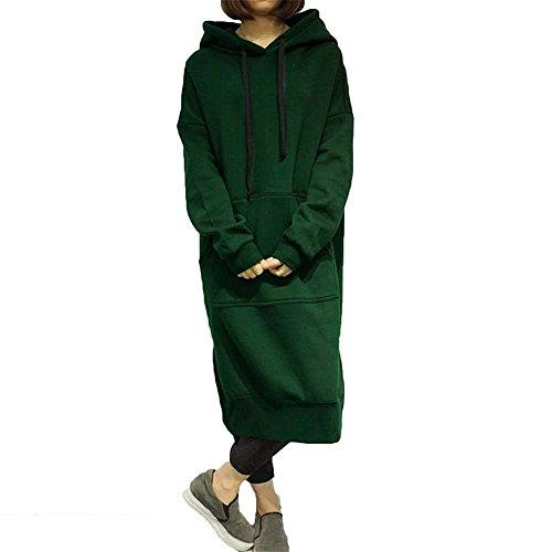 Damen Lange Pullover Kapuzenpullover Hoodie Sweatkleid Long Sweatshirt Fleecepullover Kapuzen Pullover Pulli Kleid Grün L Meedot (Pullover Langarm Fleece Shirt)