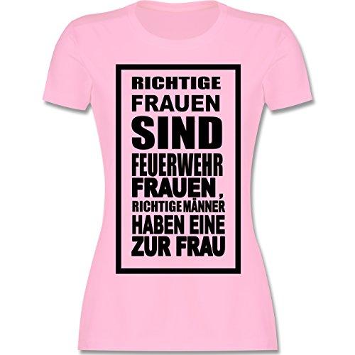 Feuerwehr - Feuerwehr - Richtige Frauen - tailliertes Premium T-Shirt mit Rundhalsausschnitt für Damen Rosa