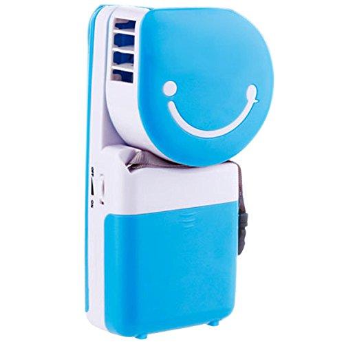 Preisvergleich Produktbild Mini Portable Handheld Bladeless kühl-Ventilator Klimaanlage Wasserkühlung Tisch Schreibtisch Desktop elektrische Lüfter wiederaufladbare USB Batteriebetrieb für Home-Office Studenten Outdoor Camping Wandern Reisen blau
