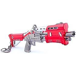 Llavero de metal, diseño de pistola de escopeta roja de metal, para artes y juguetes, ideal para regalar