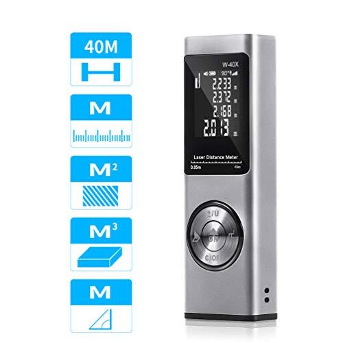 TOOLTOO Laser Entfernungsmesser 40M, 131Ft USB Aufladbar Laser Digital Distanzmessgerät, Tragbares Distanzmesser mit LCD Hintergrundbeleuchtung