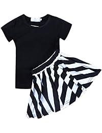 CHIC-CHIC Ensemble Fille Bébé 2PC Top T-shirt + Jupe Rayures Courte Manches Imprimé Enfant Mignon Princesse Robe Tutu