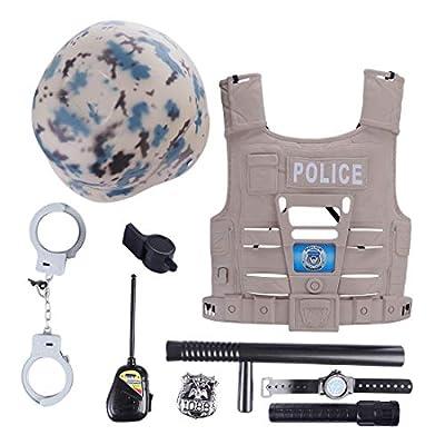LoKauf 9Pcs Costume de Policier Enfant Deguisement Police Menottes Casquette Kit