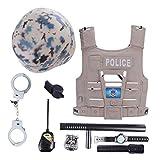 BSPAS 9 Stück Polizei Kinder Kostüme Set, Kinderkostüm Polizei Rollenspiel Spielzeug Helm und Polizei Zubehör