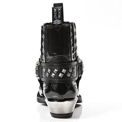 New Rock Schwarz Leder Motorradfahrer Stehlen Hacke übersät Stiefel - M.7950 Schwarz