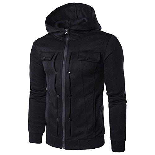 PAOLIAN Herren Herbst Winter Freizeit Kapuzenpullover Jacken Mantel Outwear Männer Mode Herren Schlanke Hooded Pullover Top Wolljacke Mantel Jacke (S, Schwarz) (Pullover Schalkragen Long)