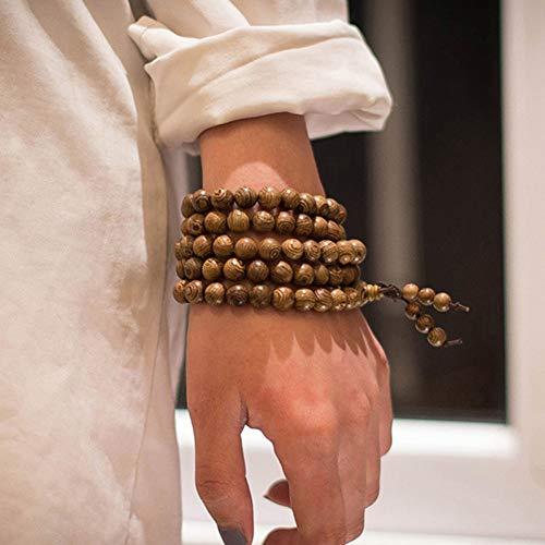 WODESHENGRI Armbänder,Rosenkranz Armband Charm Halskette Yoga Glück Holz- Armband Für Frauen Männer