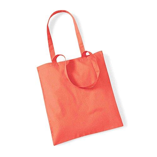 Westford Mill Leben Lange Griffe Shopper Schultertasche Einkaufstasche Baumwolle WM101, baumwolle, hellrot, 38 x 42cm Korallenrot