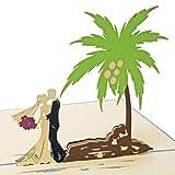 Favour Pop Up Hochzeitskarte. Ein filigranes Kunstwerk, dass sich beim Öffnen als Hochzeitspaar unter Palmen entfaltet. TW031