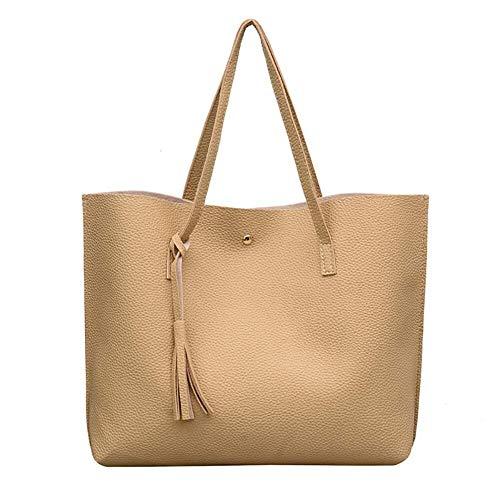 Zengkei Mode-Einkaufstasche Frauenhandtaschen, Weiche Lederne Tote-Schulter-Beutel-Kurier-Beutel-Damen-Handtaschen-große Kapazitäts-Quasten-Handtasche für Reiseurlaub (Color : Khaki, Size : M) -