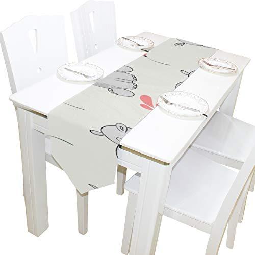 Yushg Hässliche Tier Nilpferd Kommode Schal Tuch Abdeckung Tischläufer Tischdecke Tischset Küche Esszimmer Wohnzimmer Home Hochzeit Bankett Dekor Indoor 13x90 Zoll