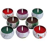 Juego de regalo de vela perfumadas - lavanda, rosa, árbol de té y hierbabuena, la cera de la soja del 100% de  KitchenGynti para aliviar el estrés y aromaterapia, candela del regalo de Navidad - Paquete de 8