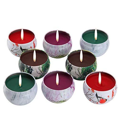 Juego de regalo de vela perfumadas   lavanda, rosa, árbol de té y hierbabuena, la cera de la soja del 100% de  KitchenGynti para aliviar el estrés y aromaterapia, candela del regalo de Navidad   Paquete de 8