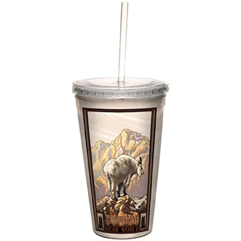 Tree-Free Greetings cc33272 Vintage Yellowstone National Park Mountain Goat by Paul A. Lanquist Artful Traveler Double-Walled Cool Cup with Straw, 16-Ounce by Tree-Free Greetings