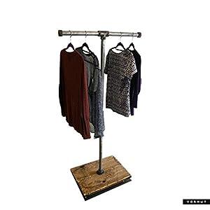 Vorhut 'Hadfield' - Vintage Industrial Scaffold Board T-bar Clothes Rail & Shoe Rack in Tarnished Metal (industrielles Gerüstbrett T-Bar Kleiderständer und Schuhständer)
