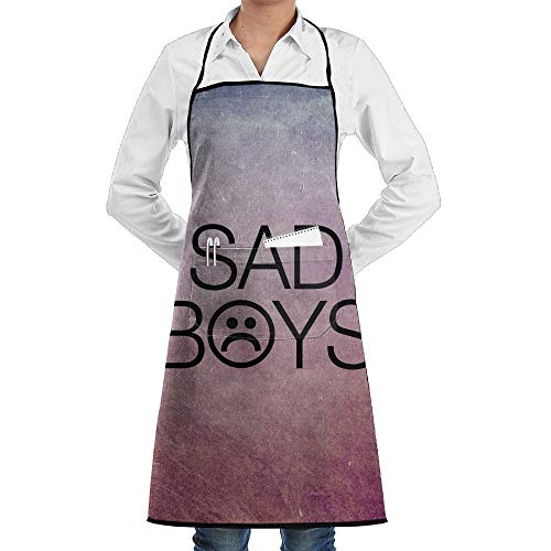 dfgjfgjdfj Sad Boys Schürze Lace Adult Mens Womens Chef Adjustable Polyester Long Full Black Cooking Kitchen Schürzes Bib with Pockets for Restaurant Baking Crafting Gardening BBQ Grill (Seite Boy Kostüm)