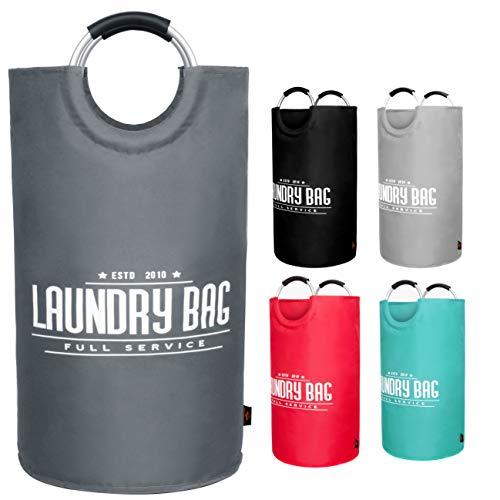 AUERVO Grand Panier à Linge Pliable en Tissu Oxford Sac de Rangement Portable étanche avec poignées en Aluminium pour vêtements Sales